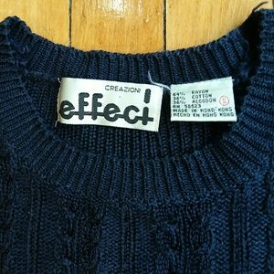 Vintage 90s navy blue cable knit sweater crop top